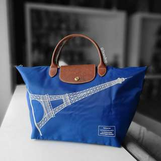 Authentic Longchamp Le Pliage Short Handle - Large Eiffel Tower