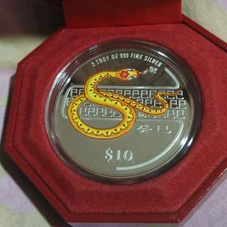 2013 Year of the Snake Coloured Silver Proof Coin