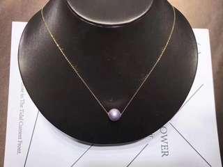 平售!100%天然12-13mm淡水珍珠正圓頸鏈18k金鏈!