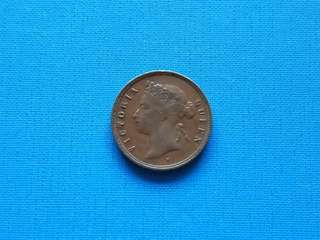 1874H Striat settlement Queen Victoria one cent coin