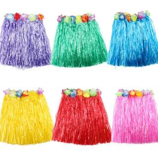 [Ready Stock] Hawaiian Dress Skirt Hula Grass Skirt With Flower Adult Lady Cost