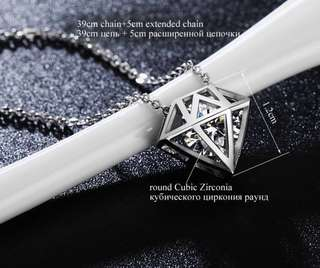CZ stone necklace diamond design (3pcs left)