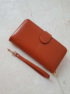 Brown Long Wallet with Many Compartments
