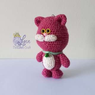 Cat Jolly Meow Key Chain Crochet Amigurumi Magenta Pink