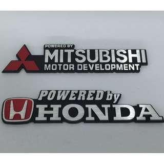 Emblem Metal Logo High Quality Automotive Badge 16cm Powered By Honda and Mitsubishi