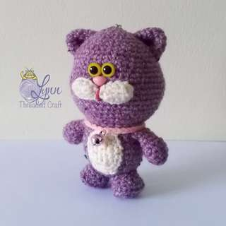 Cat Jolly Meow Key Chain Crochet Amigurumi Violet
