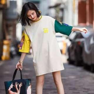Minimei追加款✪韓系韓版歐美風英倫風百搭休閒 減齡夏裝新款寬鬆拼接印花連衣裙女