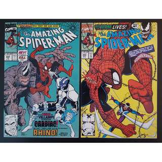 Amazing Spider-Man #344,#345 (1990, 1st Series) Set of 2, First appearance of Cletus Kasady aka CARNAGE! Key Books! RARE!