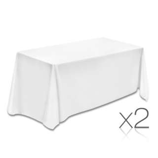 Set of 2 153 x 320 Table Cloths - White