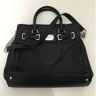 Michael Kors Hamilton black leather tote bag