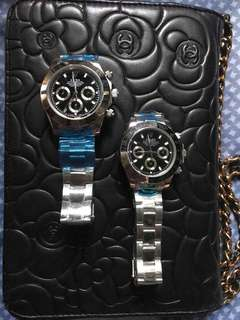 Couples watch rolex silver black