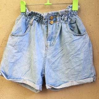 Garterized Highwaist Denim Shorts