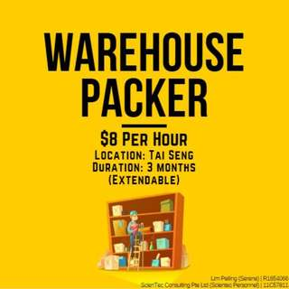Warehouse Packers ($8 per hour / Tai Seng / 1 to 3 months)