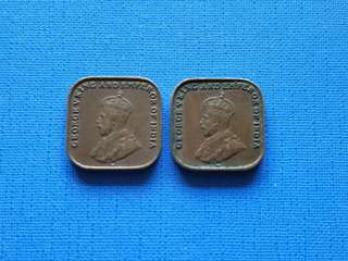 1920 Strait settlement King George v one cent coin *2pcs
