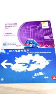 地鐵 機場快綫 博覽站 車票 兩張
