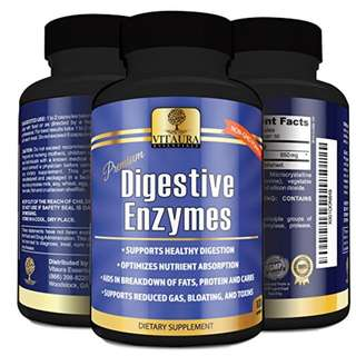 [IN-STOCK] Vitaura Essentials Digestive Enzyme Supplements - NON-GMO Enzymes for Digestion Amylase, Protease, Lipase to Reduce Gas, Bloating, Toxins, Increase Energy and Aid Digestion of Fats, Proteins, Carbs 100 Capsules