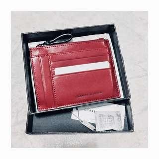 Charles & Keith Top Zip Cardholder (Red)