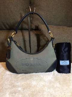 Authentic Prada Jacquard Hobo With Dustbag