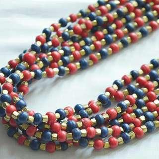 Kalung panjang merah/biru