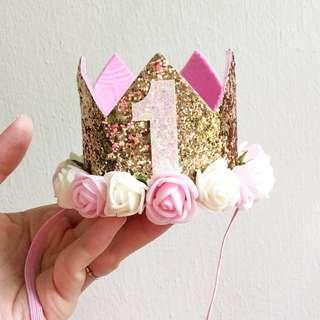 ⭐️Instock⭐️ Baby Girl One year birthday crown headband