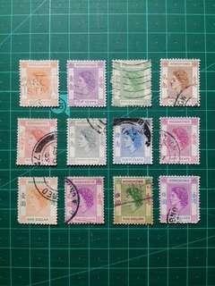 1954 伊莉莎白二世第一組通用票 舊票12枚