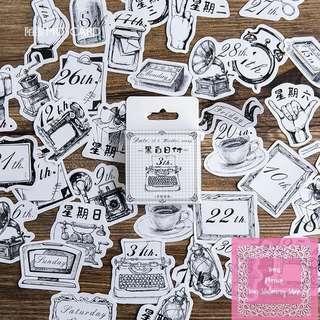 Set of 45pcs Vintage Black & White Date & Typewriter Sticker Pack