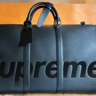 LOUIS VUITTON SUPREME LV KEEPALL 55黑色手提包 正品