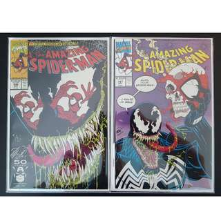 Amazing Spider-Man #346,#347 (1991, 1st Series) Set of 2, Vs VENOM! All-out Spidey/Venom Slugfest!Key-Books! RARE!