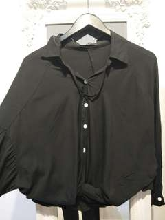 Black bat wing top