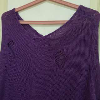 Womens knitted beach cover violet