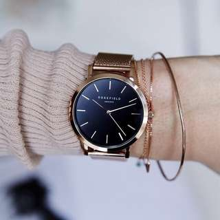 全新行貨 設有門市 Rosefield The Mercer Black Rose Gold Watch 手錶