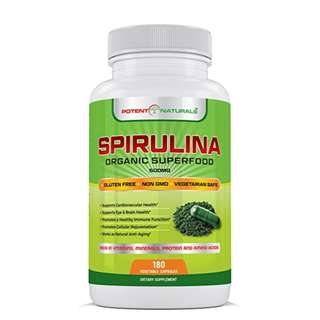 [IN-STOCK] Potent Naturals Spirulina 180 Vegetable Capsules/Pills By Potent Naturals Organic Green Algae Superfood Supplement | Non-GMO, Gluten Free, Vegan | Rich in Protein, Vitamins, Minerals & Amino Acids | Made In USA