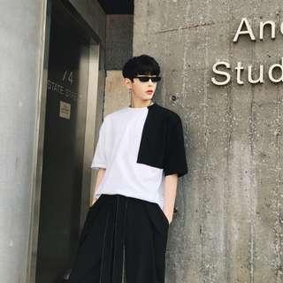 【H.BANDWAGON】個性黑白配拚袖造型寬鬆短袖T恤