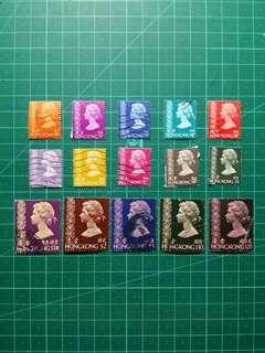 1973 伊莉莎白二世第三組通用票 舊票15枚