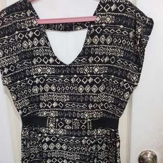 Forever 21 sleeved aztec dress in black