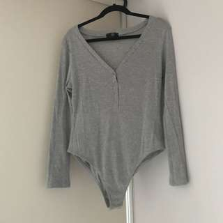 Rib long sleeve button front bodysuit - Grey