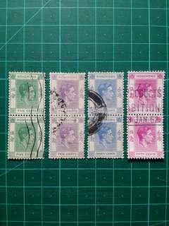 [精選套裝]1946 喬治六世第三組通用票 直雙連舊票 四款