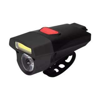 🆕! Black 360 Lumens USB Rechargeable LED Mountain Bike Light Double Lamp Handlebar Headlight Bicycle LED+COB   #OK