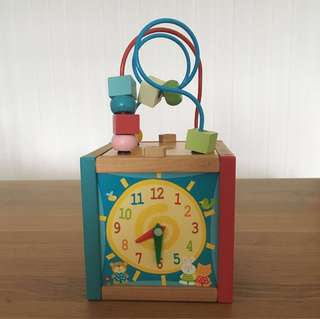 Mini wooden activity cube