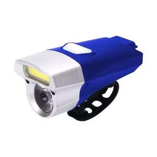 🆕! Blue 360 Lumens USB Rechargeable LED Mountain Bike Light Double Lamp Handlebar Headlight Bicycle LED+COB    #OK