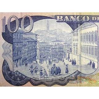 1965年葡萄牙銀行名小說家白蘭高像及波圖城景100厄士姑度鈔票(薩拉查獨裁政權時期)