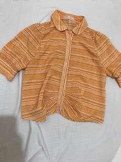 🚚 chica 正品 七分袖襯衫 上衣 幾何圖案 38號#五十元好物