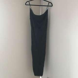 Metallic straps Mesh midi dress -Silver