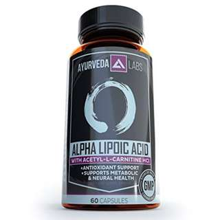 [IN-STOCK] AYURVEDA LABS Alpha Lipoic Acid with Acetyl L-Carnitine - ALA / ALCAR - Brain Support, Weight Loss, Energy, Anti-aging, Powerful Antioxidant and Heart Health – 60 Capsules