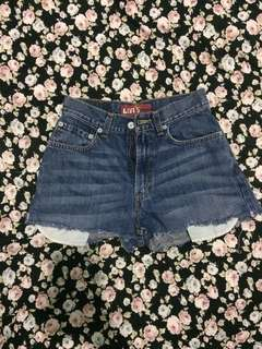 High-waist denim short