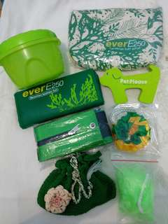 [Nego/barter] Paket hijau ( 8 item ) + free mini woven bag
