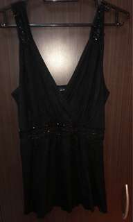 Black Babydoll Top with sequins
