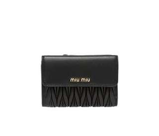 Authentic Miu Miu Matelasse Leather Wallet