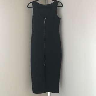 Body Con zip front dress - Black