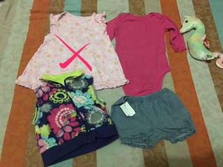 Mix preloved and brandnew baby girl clothes size newborn to 3m.